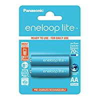 松下 eneloop Lite AA 电池 -BK-3LCCE/2BE AA Pack of 2