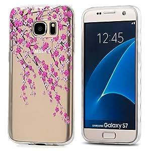 Galaxy S7 手机壳,3Cworld 超薄透明艺术图案水晶凝胶 TPU 橡胶弹性纤薄手机壳适用于三星 Galaxy S7 Branches Flowers - Pink