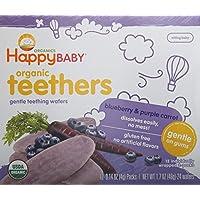Happy Baby温和牙胶蓝莓和紫色胡萝卜磨牙饼干 12 份(6 包)