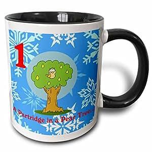 3drose edmond hogge JR–12DAYS OF 圣诞 A partridge IN A 双 Tree–马克杯 黑色/白色 11 oz