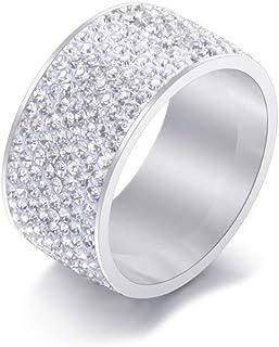 Xusamss 时尚不锈钢溜冰水晶戒指