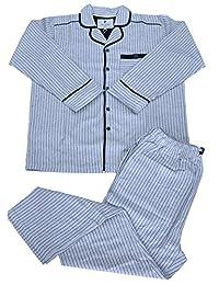 Lee Valley - 男士正宗爱尔兰国家法兰绒睡衣套装 - 2 件(XXL,SF3 蓝色/红色条纹)
