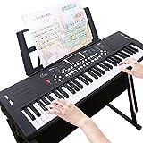 活石 61键儿童电子琴成人初学入门者乐器钢琴 (61键-雅致黑+琴架)