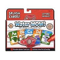 Melissa & Doug 美丽沙 Go Water Wow! 用水上色的玩具绘画套装 可重复使用的水上色活动卡片 - 字母和动物