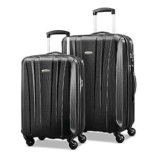 "Samsonite Pulse Dlx轻量旅行套箱2个装 (20""/24""), 黑色, 亚马逊独家款"