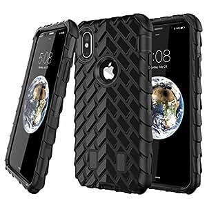 Newstore iphone X 手机壳,软橡胶硬混合轮胎条纹组合高强度硅胶手机壳,适用于 iphone x 免费包装 Newstore 商标礼物 黑色