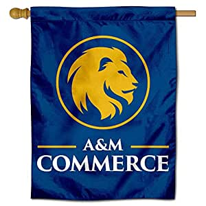 College Flags and Banners Co. Texas A&M Commerce Lions 金色狮子双面国旗