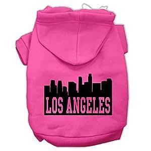 洛杉矶天际线丝网印花狗狗连帽衫 亮粉色 Large/Size 14
