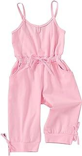 YOUNGER STAR 幼童女孩时尚服装休闲无袖连身衣长裤带口袋套装黑灰色 1-6 T