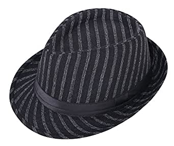 Lullaby 男式女式短款帽檐经典曼哈顿河流图案三ilby 软呢帽 Black Four Strips One Size