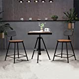 【京好】现代铁艺阳台户外桌椅组合 复古奶休闲小圆桌茶店咖啡桌椅D69 (方桌+圆木垫椅组合, 1桌2椅)