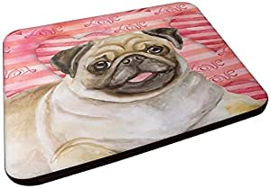 Caroline's Treasures BB9805FC Fawn Pug Love 装饰杯垫,多色