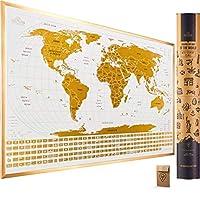 刮擦带国旗的世界地图 - 60.96 x 43.18 易于装框刮擦世界地图墙壁艺术海报美国与国旗 - 原创世界地图刮擦旅行地图专为旅行者设计