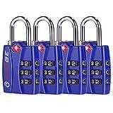 TSA 认可行李锁,锌合金主体,开放式警示红色指示灯,1、2、4 和 6 件装,黑色,蓝色,绿色,银色