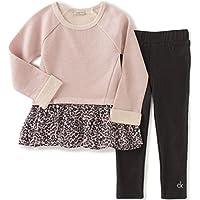 Calvin Klein 婴儿女童抓毛 / 乔其纱束腰上衣和打底裤套装