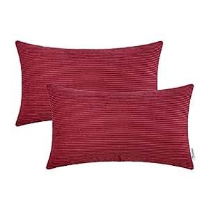 CaliTime 2 只装舒适抱枕套沙发床沙发质超软灯芯绒双面双面 深红色 12 X 20 Inches DSC0034A30-Double