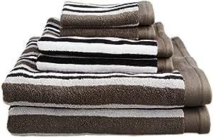 Superior Collection Luxurious Stripes 100-Percent Cotton 6-Piece Towel Set, Charcoal