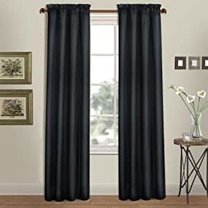 United Curtain Westwood Window Curtain Panel, 54 by 63-Inch, Black