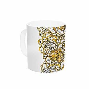 "KESS InHouse Pom 图形设计""波西米亚历 II""金色白色花卉陶瓷咖啡杯,311.84g,多色"