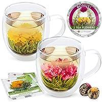 Teabloom Twin Harmony 双层玻璃马克杯和盛开的茶花(一套 2 个马克杯 + 2 个茶瓶) - 510.29g 马克杯 - Borosilicate 玻璃 - 2 个美味绿色茶花