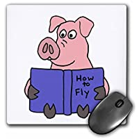 3D 玫瑰哑光鼠标垫 - 8 x 8 Funny Pig Reading How To Fly Book 8 x 8""