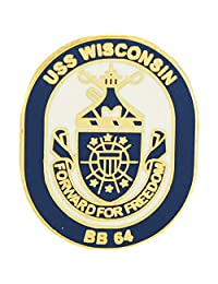 美国* USN USS Wisconsin BB-64 Script and Logo 2.54 cm 翻领别针