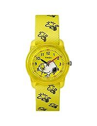 TIMEX 男孩时间机器模拟弹性面料表带腕表