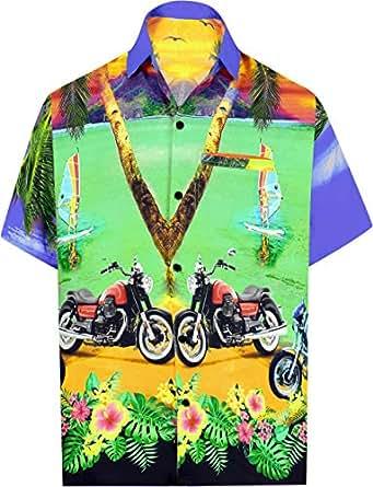 "LA LEELA 衬衫休闲系扣短袖沙滩衬衫男士单袋 89 Violet_w554 2XL |Chest 54"" - 59"""