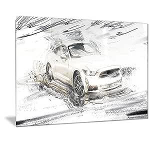 "Designart 超充电白色肌肉汽车金属墙体艺术 - MT2629-48x28-4 片 28x12"" MT2629-28-12"
