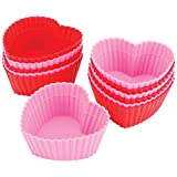 Wilton 心形硅胶烘焙杯 6 red and 6 pink 标准 331519