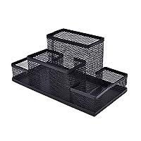 AlfOffice 办公桌收纳包 | 黑色线网眼桌面收纳盒,适用于家庭或办公桌 | 铅笔、夹子、便条和其他用品