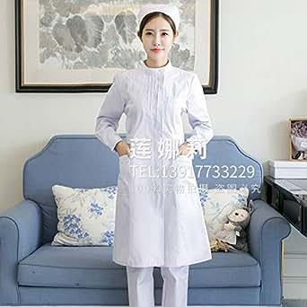护士服长袖女冬装捏折加边美容服工作服装药店服医院工作服大码修身圆领偏襟白色长袖 XL
