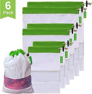 Btromeshy 可重复使用网眼/产品袋,可水洗透明,9 包食品*优质网袋,带彩色皮质重量标签 * Set of 6(2L,2M,2S)