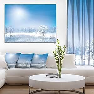 "Designart 发光的冬季太阳景摄影画布印刷品 蓝色 20x12"" PT9019-20-12"