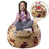 Injoy 38 英寸填充动物豆袋超大椅套 - * 纯棉帆布儿童玩具收纳拉链袋收纳袋舒适小屋适用于男孩女孩幼儿,6 种图案可选 Yellow With Animals