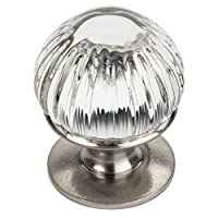 5 件装 - Cosmas 6812SN-C 缎面镍橱柜五金件圆旋钮带透明玻璃 - 2.22 cm 直径