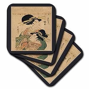 cst_44756_2 Florene Oriental - 2 Vintage Oriental Ladies - Coasters - set of 8 Coasters - Soft