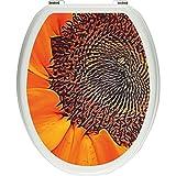 Pixxp/3D WCS 5180 32x40 大型 优雅 SunFlower 马桶盖贴纸,WC,马桶盖,Gläzendes 材质 黑色/白色,40 x 32 厘米