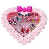 Elesa Miracle 28 只装儿童小女孩闪亮卡夹式耳环和可调节珠宝戒指盒,女孩假装游戏耳环和装扮戒指