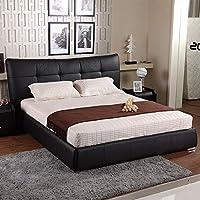 【下单赠价值398元乳胶枕1个】左右 皮床 床垫组合 真皮软床 双人床 DR009 A18黑色 231cm*182cm*113cm
