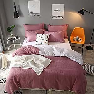 Lausonhouse 纱线染色华夫格编织条纹 * 纯棉羽绒被套 - 双人床 紫红色 两个 LADSYD20067MAT