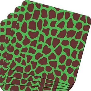 Rikki Knight 深绿色长颈鹿设计柔软方形啤*杯垫(2 件套),多色