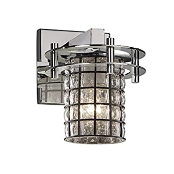 Justice Design Group WGL-8271-10-GRCB-CROM 钢丝玻璃圆环 单灯壁灯,20.96 厘米 x 16.51 厘米,抛光铬