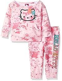 Hello Kitty 女婴慢跑裤子套装带圆领上衣