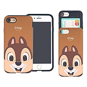 iPhone 8 PLUS/iPhone 7 PLUS Case DISNEY Cute Slim Slider Cover : Card Slot Shock Absorption Dual Layer Holder Bumper for [ iPhone8 Plus / iPhone7 Plus ] Case - Look Chip
