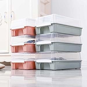 莜牧 Yom 翻盖式加厚鞋盒 塑料防潮防尘储物箱 透明叠加组合收纳盒 (北欧蓝, 6个装)