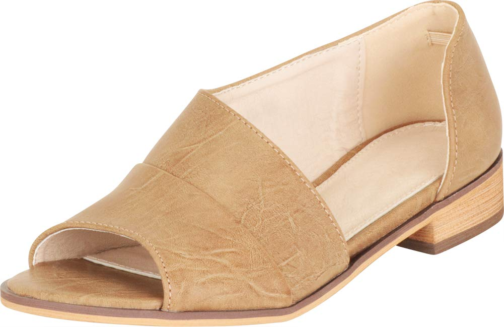 Cambridge Select 女式露趾侧镂空露跟低跟一脚蹬平底鞋