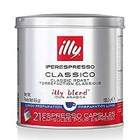 Illy 意利 咖啡,Classico Lungo特浓咖啡胶囊,中度烘焙,大包装,6 x 21(共126粒胶囊),4.6盎司(约130.41克)