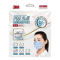 3M 9501C 耳带式口罩蓝色3只装防雾霾粉尘pm2.5呼气阀透气口罩(亚马逊自营商品, 由供应商配送)