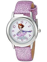 """Disney 女孩""""索菲亚公主""""石英不锈钢休闲手表,颜色:紫色(型号:WDS000269)"""